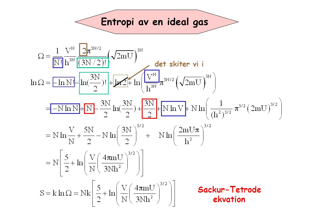 Entropi av en ideal gas det skiter vi i Sackur-Tetrode ekvation