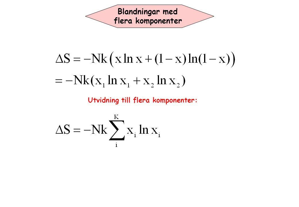 Blandningar med flera komponenter Utvidning till flera komponenter: