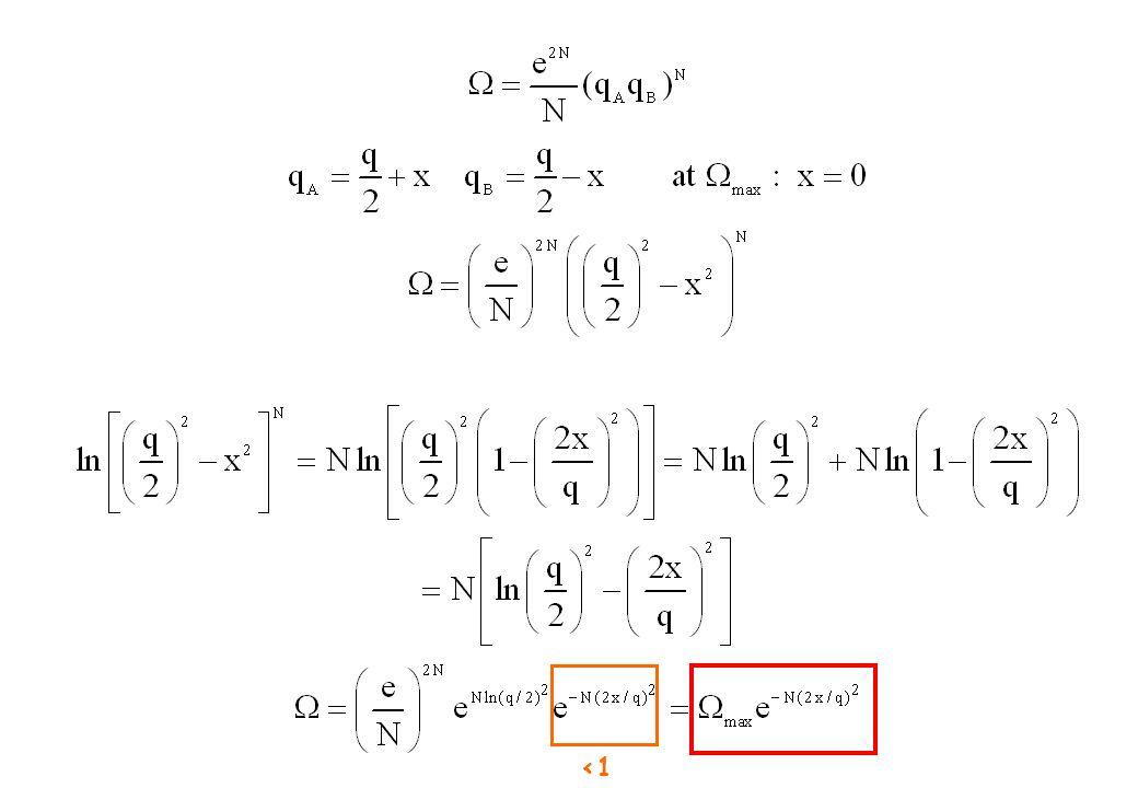 Egenskaper av entropi S = k ln  1.) Om multipliciteten är 1 (vi tillåter bara en konfiguration i systemet), är entropin 0 2.) Entropin för två olika system är summan av entropin av delsystemen.
