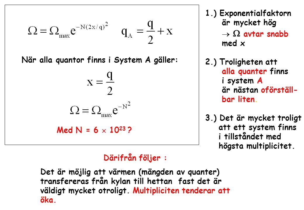 När alla quantor finns i System A gäller: 1.) Exponentialfaktorn är mycket hög   avtar snabb med x 2.) Troligheten att alla quanter finns i system A