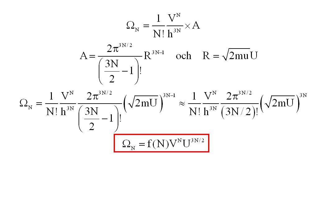 Expansion av en ideal gas i vakuum Vi låter en gas expandera till en dubbelt så stor volym V2V Hur stor är sannolikheten att gasen komprimera sig frivilligt till volym V ?