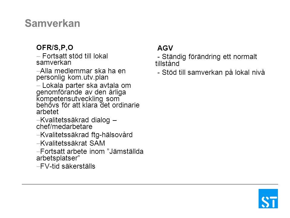 Samverkan OFR/S,P,O  Fortsatt stöd till lokal samverkan  Alla medlemmar ska ha en personlig kom.utv.plan  Lokala parter ska avtala om genomförande av den årliga kompetensutveckling som behövs för att klara det ordinarie arbetet  Kvalitetssäkrad dialog – chef/medarbetare  Kvalitetssäkrad ftg-hälsovård  Kvalitetssäkrat SAM  Fortsatt arbete inom Jämställda arbetsplatser  FV-tid säkerställs AGV - Ständig förändring ett normalt tillstånd - Stöd till samverkan på lokal nivå