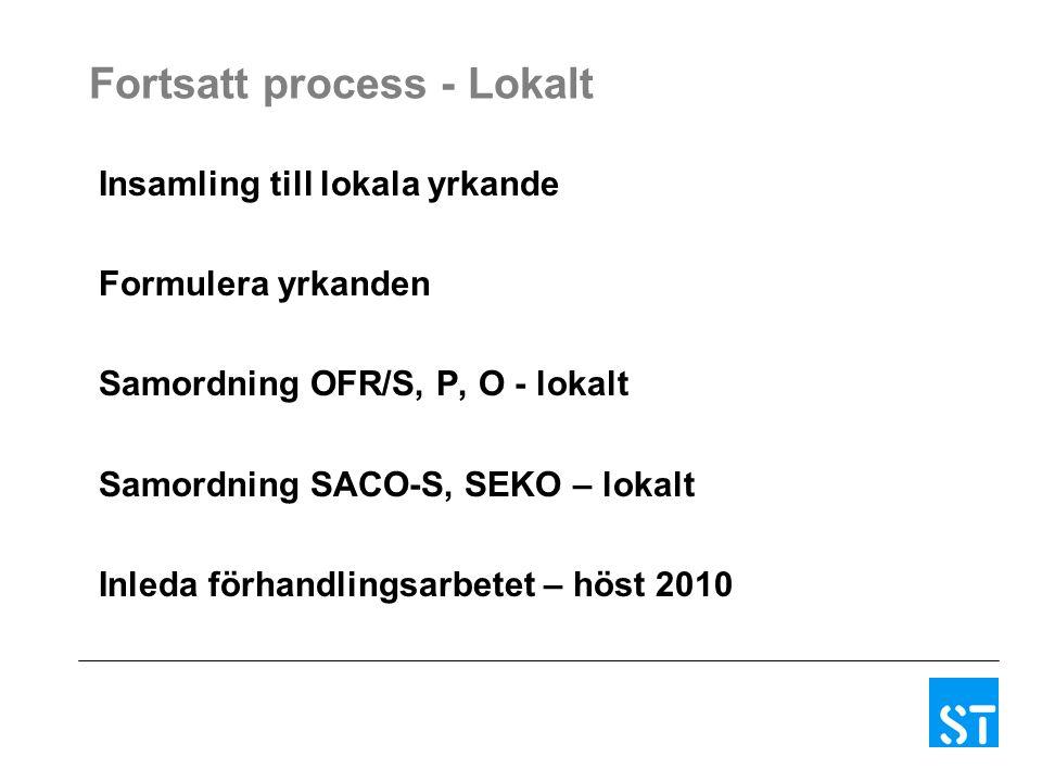 Fortsatt process - Lokalt Insamling till lokala yrkande Formulera yrkanden Samordning OFR/S, P, O - lokalt Samordning SACO-S, SEKO – lokalt Inleda förhandlingsarbetet – höst 2010