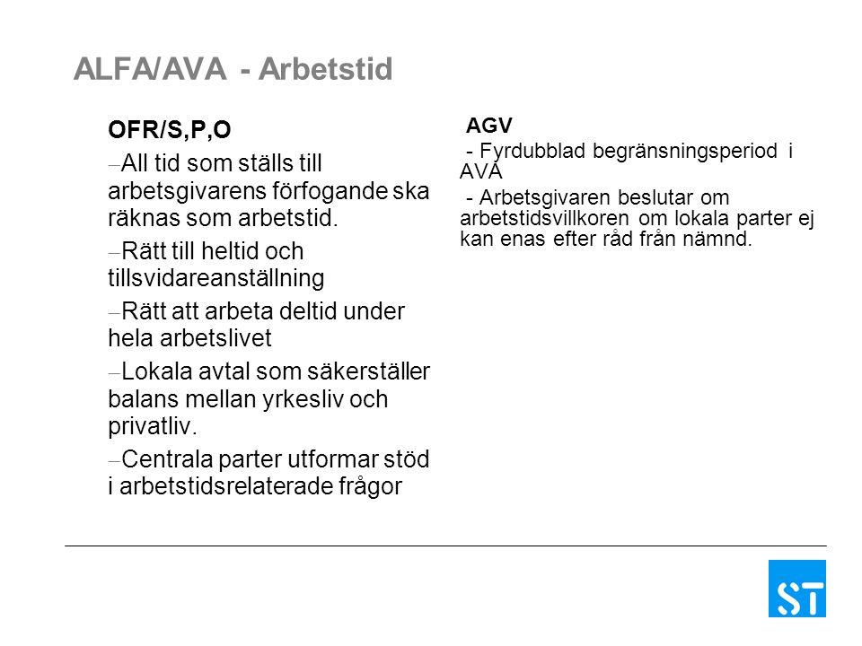 ALFA/AVA - Arbetstid OFR/S,P,O  All tid som ställs till arbetsgivarens förfogande ska räknas som arbetstid.