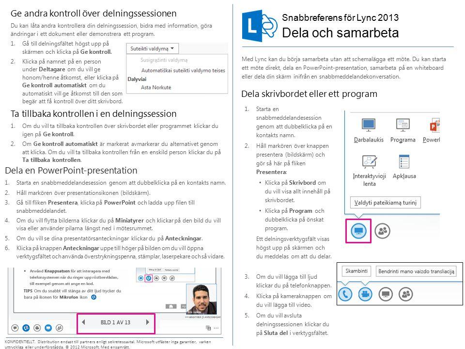 Snabbreferens för Lync 2013 KONFIDENTIELLT.