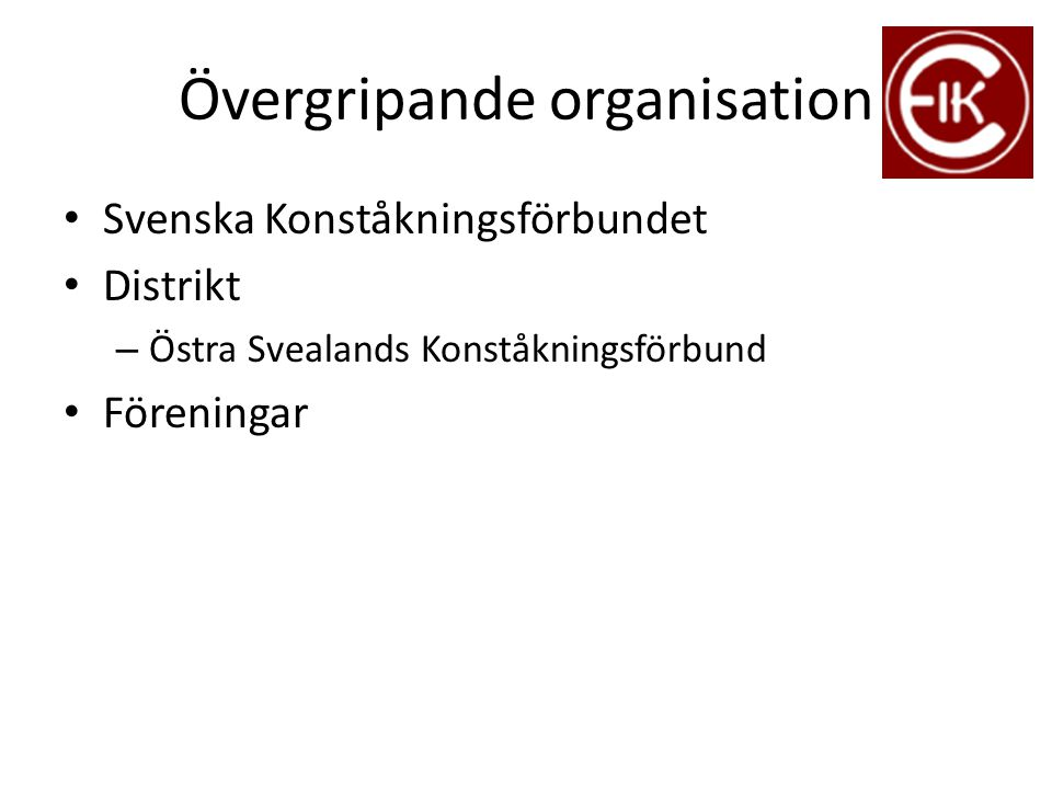 Övergripande organisation Svenska Konståkningsförbundet Distrikt – Östra Svealands Konståkningsförbund Föreningar