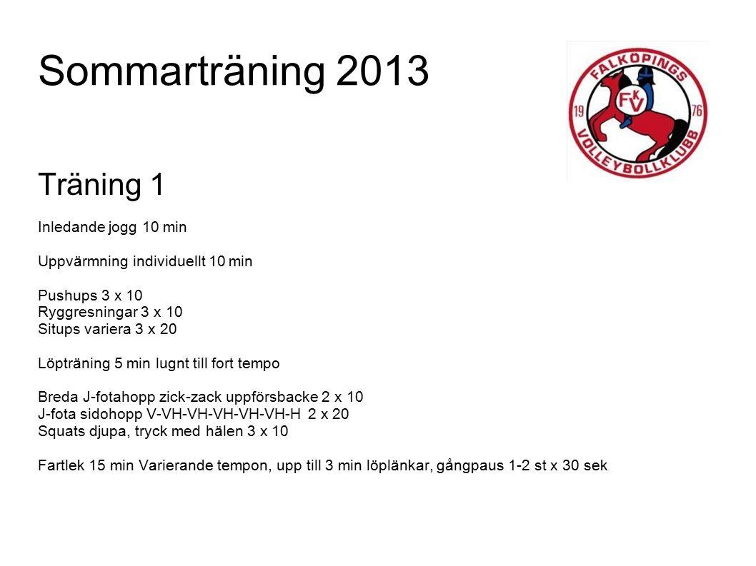 Sommarträning 2013 Träning 2 5 min löpning, Olika riktningar & tempo 5 min töjning 5 min löpning, Olika riktignar & tempo – Ökning av intensitet 8 st hopp till sprint, variera hopp 3-punkt push-up 3 x 10 Vindrutetorkaren 2 x 10 Rytmiska utfallshopp med vändning 3 x 12 Stegringslopp 5 x 100 M vila 1-2 min mellan Distanslöpning 20 min