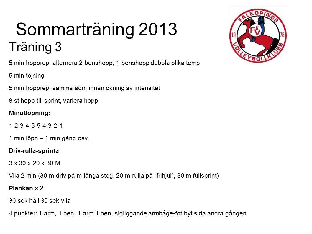 Sommarträning 2013 Träning 4 Inledande jogg 2 x 4 min vila: 1 min gång Töjning 10 min Tåvinkningar 3 x 10 Rytmiska utfallshopp m vändning 2 x 15 J-fota sidohopp 2 x 15 pvb Distanslöpning 20 min LUGNT