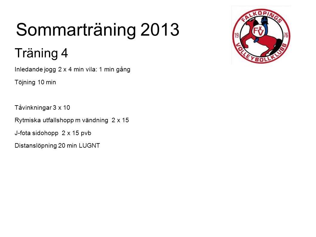 Sommarträning 2013 Träning 4 Inledande jogg 2 x 4 min vila: 1 min gång Töjning 10 min Tåvinkningar 3 x 10 Rytmiska utfallshopp m vändning 2 x 15 J-fot