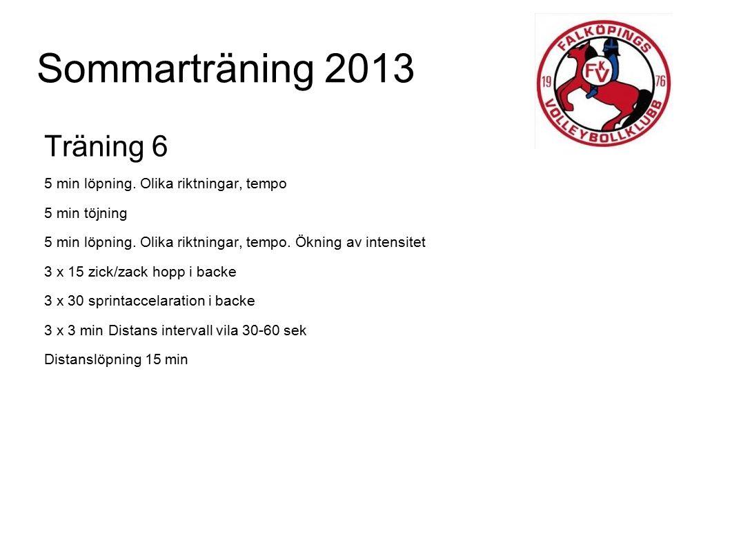 Sommarträning 2013 Träning 6 5 min löpning. Olika riktningar, tempo 5 min töjning 5 min löpning. Olika riktningar, tempo. Ökning av intensitet 3 x 15