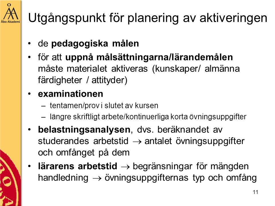 11 Utgångspunkt för planering av aktiveringen de pedagogiska målen för att uppnå målsättningarna/lärandemålen måste materialet aktiveras (kunskaper/ a
