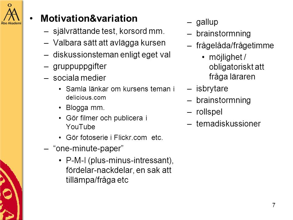 7 Motivation&variation –självrättande test, korsord mm.