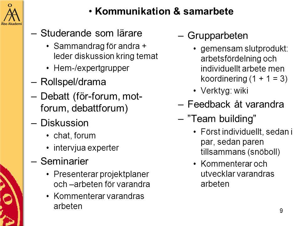 9 –Studerande som lärare Sammandrag för andra + leder diskussion kring temat Hem-/expertgrupper –Rollspel/drama –Debatt (för-forum, mot- forum, debattforum) –Diskussion chat, forum intervjua experter –Seminarier Presenterar projektplaner och –arbeten för varandra Kommenterar varandras arbeten –Grupparbeten gemensam slutprodukt: arbetsfördelning och individuellt arbete men koordinering (1 + 1 = 3) Verktyg: wiki –Feedback åt varandra – Team building Först individuellt, sedan i par, sedan paren tillsammans (snöboll) Kommenterar och utvecklar varandras arbeten Kommunikation & samarbete