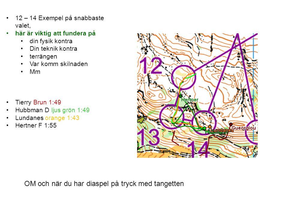 12 – 14 Exempel på snabbaste valet, här är viktig att fundera på din fysik kontra Din teknik kontra terrängen Var komm skilnaden Mm Tierry Brun 1:49 H