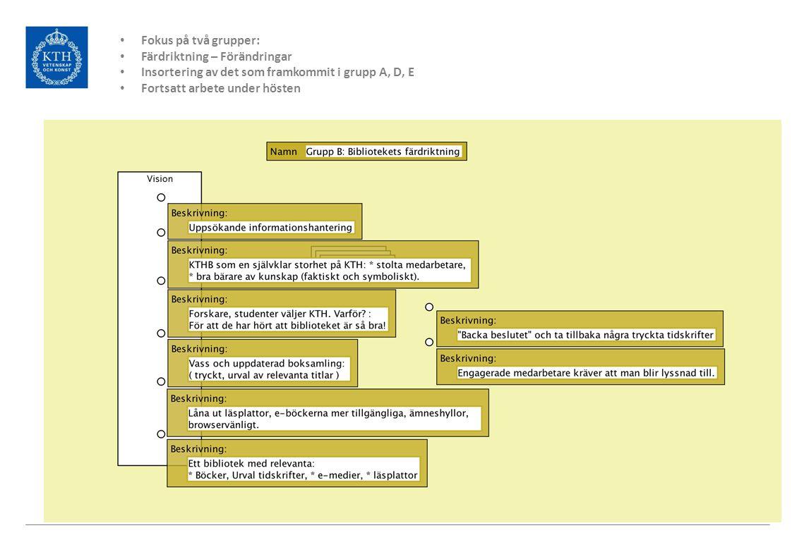 Fokus på två grupper: Färdriktning – Förändringar Insortering av det som framkommit i grupp A, D, E Fortsatt arbete under hösten