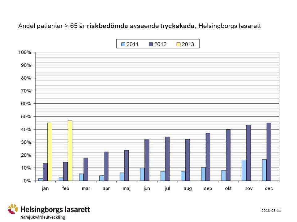 Närsjukvårdsutveckling 2013-03-11 Andel patienter > 65 år riskbedömda avseende tryckskada, Helsingborgs lasarett