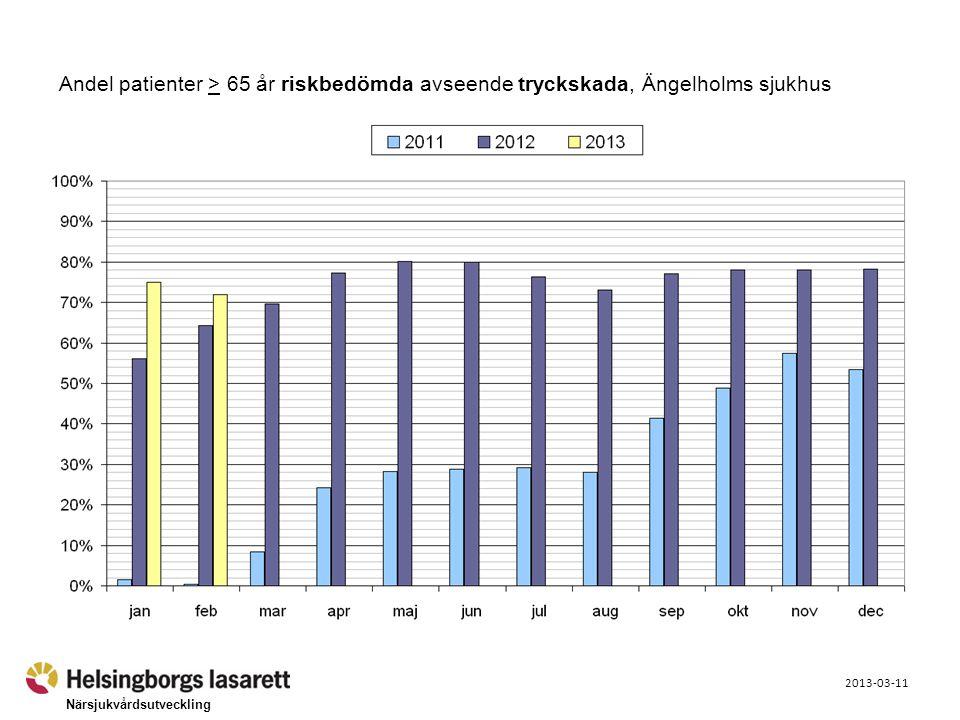 Närsjukvårdsutveckling 2013-03-11 Andel patienter > 65 år riskbedömda avseende tryckskada, Ängelholms sjukhus
