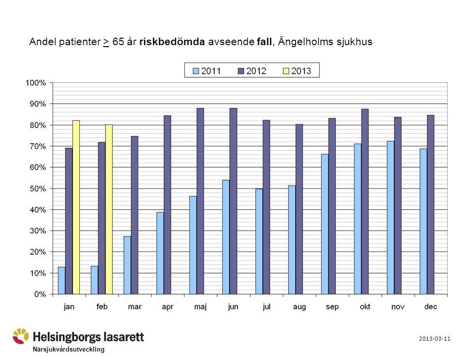 Närsjukvårdsutveckling 2013-03-11 Andel patienter > 65 år riskbedömda avseende fall, Ängelholms sjukhus