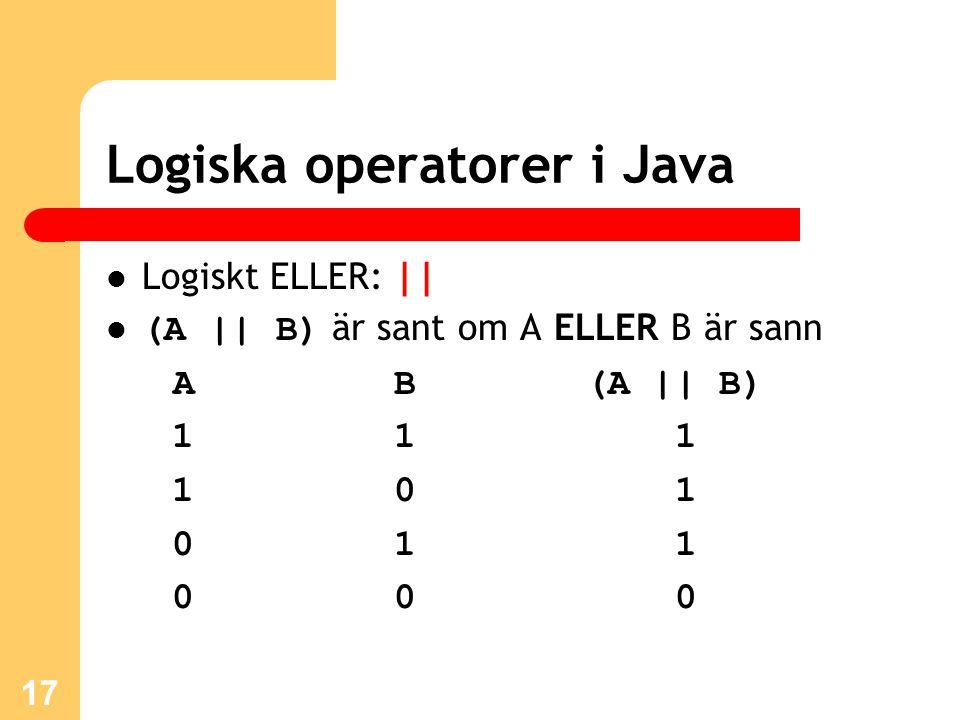 17 Logiska operatorer i Java Logiskt ELLER: || (A || B) är sant om A ELLER B är sann A B (A || B) 1 1 1 1 0 1 01 1 0 0 0