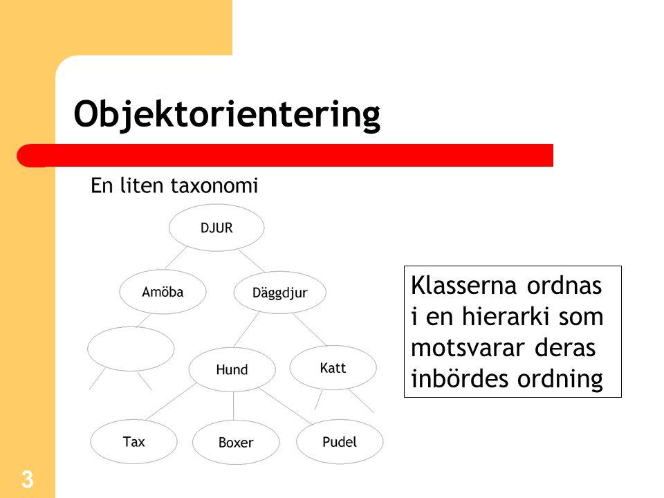 4 Objektorientering En klass innehåller en specifikation som definierar beteenden och egenskaper hos de klassinstanser (objekt) som man sedan skapar (instansierar) av klassen Av en klass Tax kan man sedan skapa en mängd olika taxart: Tax t1 = new Tax();