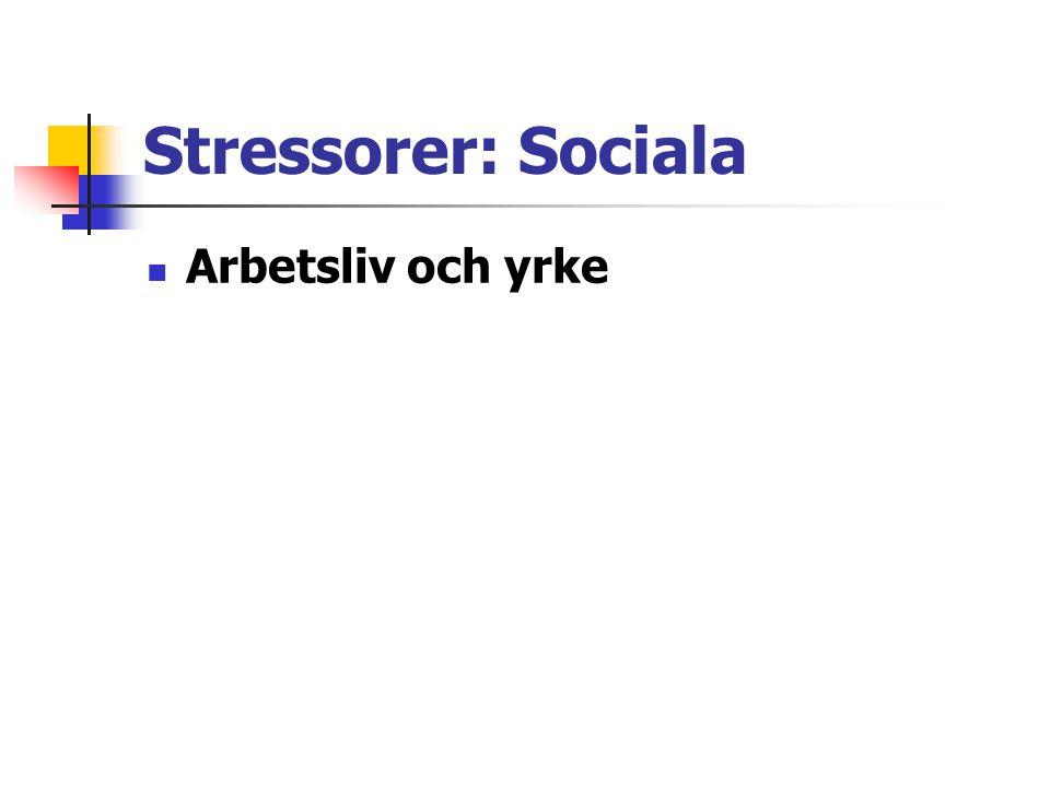Stressorer: Sociala Utmattningssyndromet – gå i väggen – arbetsrelaterad stress.