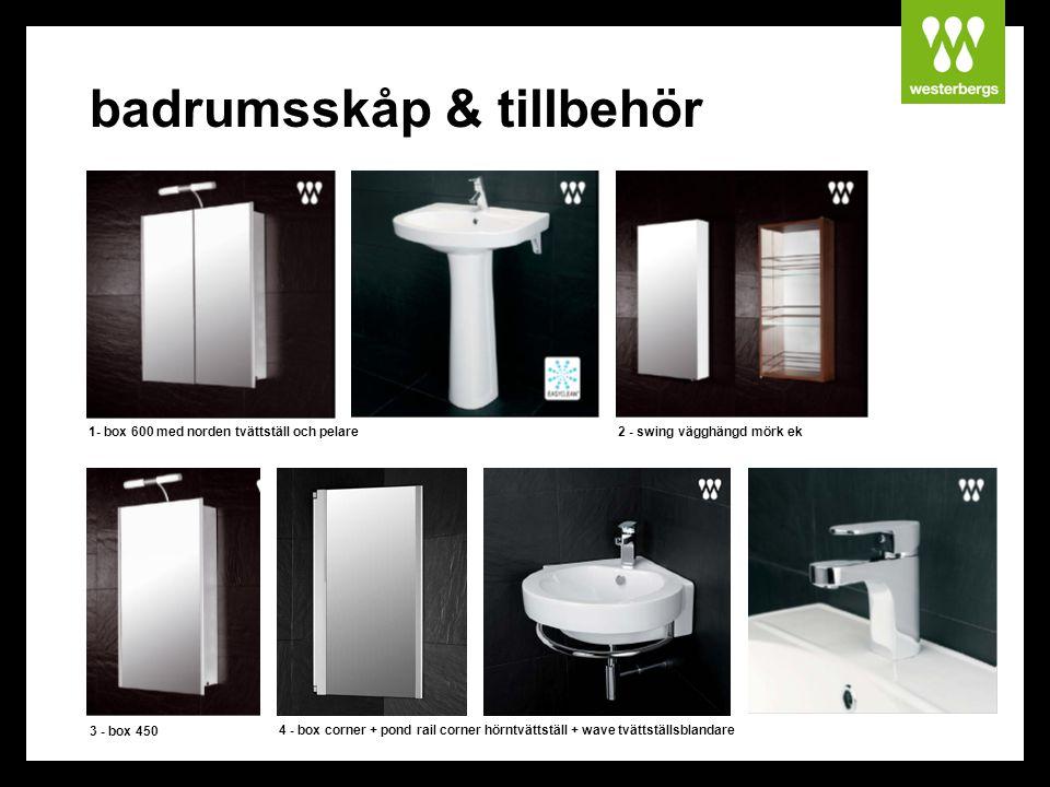 badrumsskåp & tillbehör 1- box 600 med norden tvättställ och pelare2 - swing vägghängd mörk ek 3 - box 450 4 - box corner + pond rail corner hörntvätt