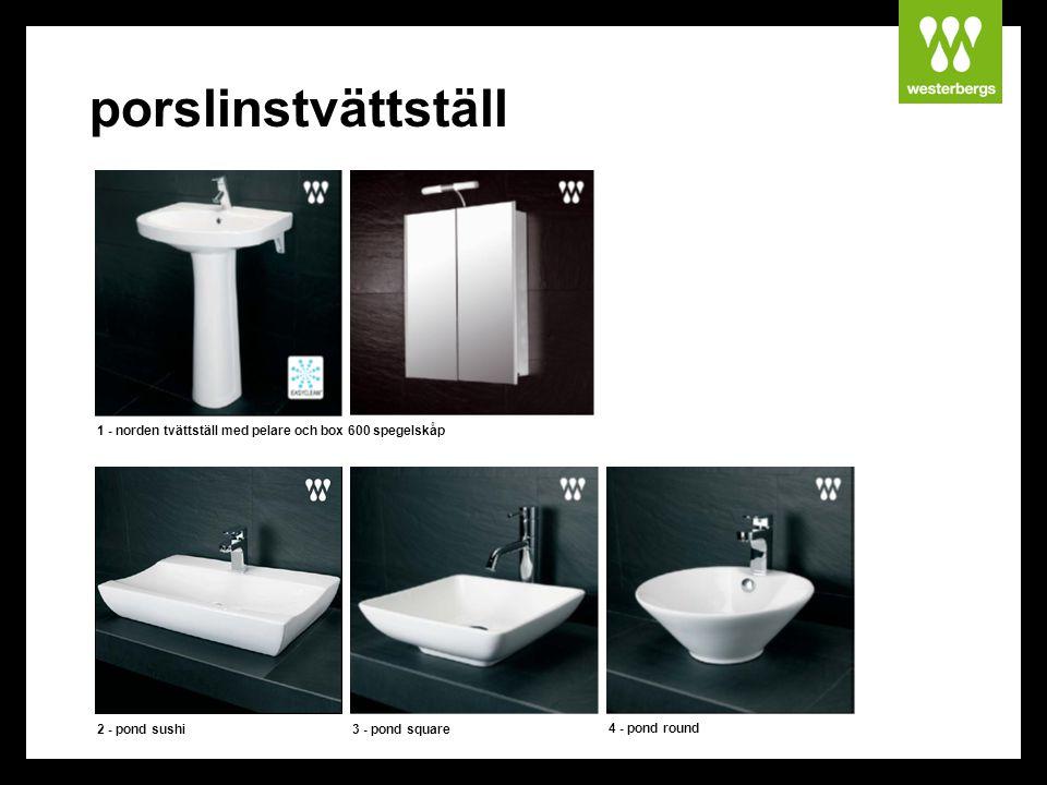porslinstvättställ 1 - norden tvättställ med pelare och box 600 spegelskåp 4 - pond round 2 - pond sushi3 - pond square