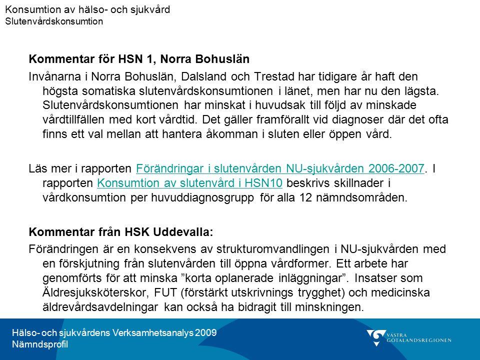 Hälso- och sjukvårdens Verksamhetsanalys 2009 Nämndsprofil Kommentar för HSN 1, Norra Bohuslän Invånarna i Norra Bohuslän, Dalsland och Trestad har tidigare år haft den högsta somatiska slutenvårdskonsumtionen i länet, men har nu den lägsta.