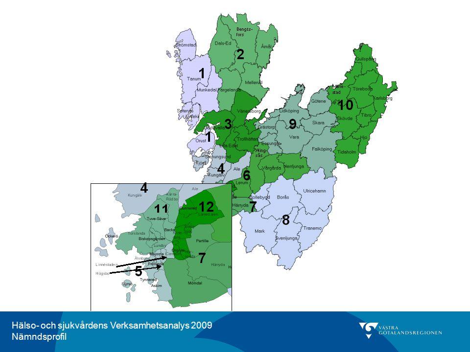 Hälso- och sjukvårdens Verksamhetsanalys 2009 Nämndsprofil Kommentar för HSN 1, Norra Bohuslän Andelen av befolkningen i Norra Bohuslän som har vårdats för kranskärlssjukdom i öppen eller sluten vård, ligger ungefär på samma nivå som länet som helhet under tvåårsperioden 2008-2009.
