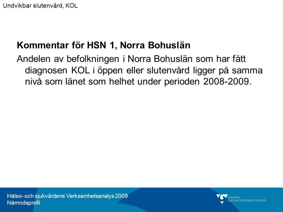 Hälso- och sjukvårdens Verksamhetsanalys 2009 Nämndsprofil Kommentar för HSN 1, Norra Bohuslän Andelen av befolkningen i Norra Bohuslän som har fått diagnosen KOL i öppen eller slutenvård ligger på samma nivå som länet som helhet under perioden 2008-2009.