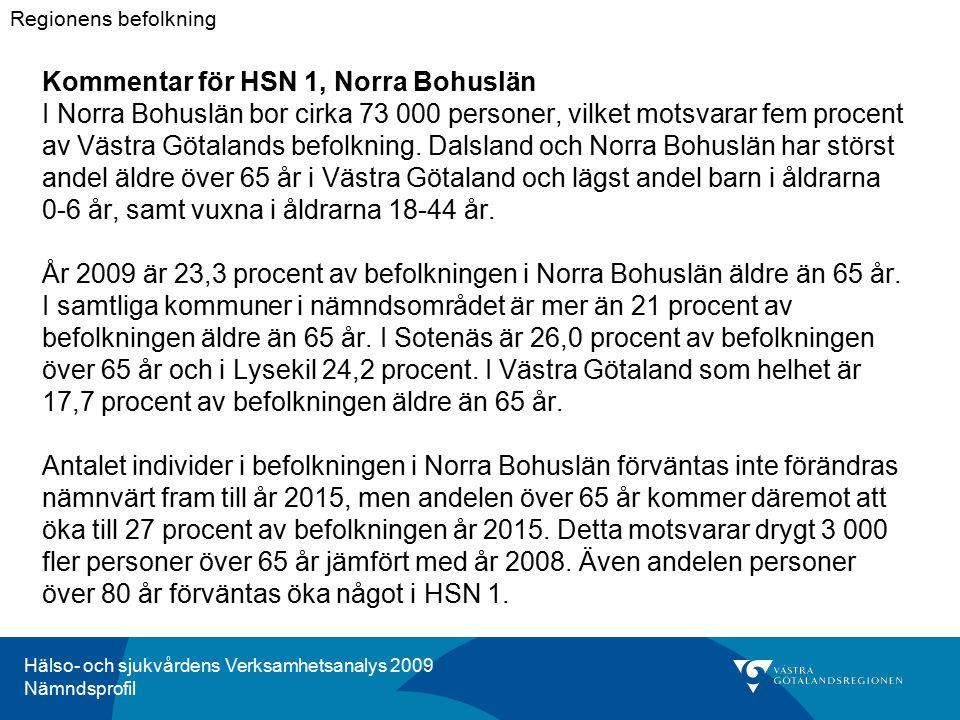 Hälso- och sjukvårdens Verksamhetsanalys 2009 Nämndsprofil Kommentar för HSN 1, Norra Bohuslän I Norra Bohuslän bor cirka 73 000 personer, vilket motsvarar fem procent av Västra Götalands befolkning.