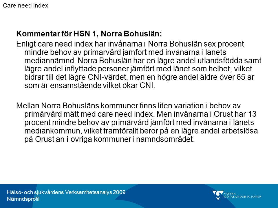 Hälso- och sjukvårdens Verksamhetsanalys 2009 Nämndsprofil Kommentar för HSN 1, Norra Bohuslän: Enligt care need index har invånarna i Norra Bohuslän sex procent mindre behov av primärvård jämfört med invånarna i länets mediannämnd.