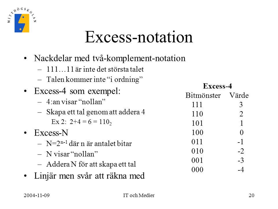 """2004-11-09IT och Medier20 Excess-notation Nackdelar med två-komplement-notation –111…11 är inte det största talet –Talen kommer inte """"i ordning"""" Exces"""