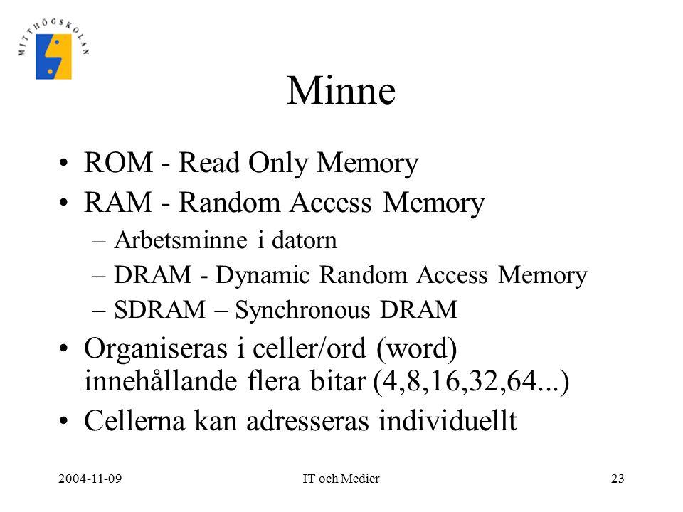 2004-11-09IT och Medier23 Minne ROM - Read Only Memory RAM - Random Access Memory –Arbetsminne i datorn –DRAM - Dynamic Random Access Memory –SDRAM –