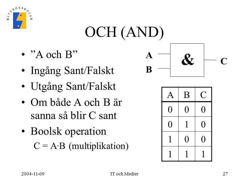 """2004-11-09IT och Medier27 OCH (AND) """"A och B"""" Ingång Sant/Falskt Utgång Sant/Falskt Om både A och B är sanna så blir C sant Boolsk operation C = A·B ("""