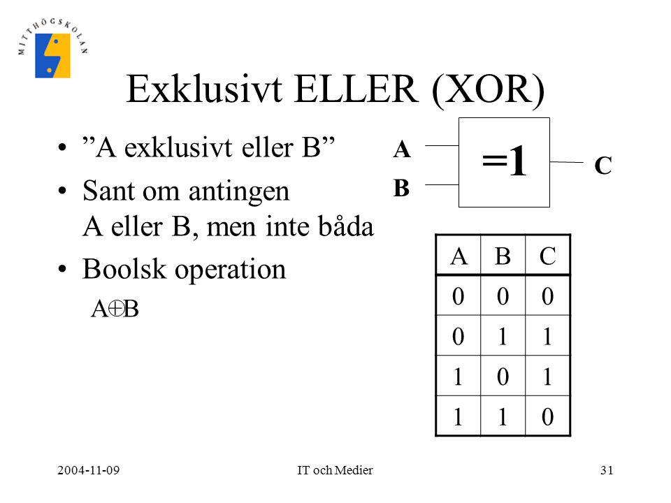 """2004-11-09IT och Medier31 Exklusivt ELLER (XOR) """"A exklusivt eller B"""" Sant om antingen A eller B, men inte båda Boolsk operation A+B =1 A B C ABC 000"""