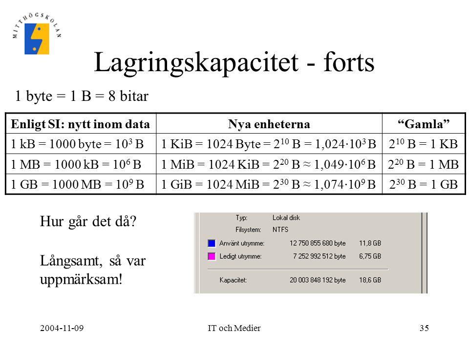 """2004-11-09IT och Medier35 Lagringskapacitet - forts Enligt SI: nytt inom dataNya enheterna""""Gamla"""" 1 kB = 1000 byte = 10 3 B1 KiB = 1024 Byte = 2 10 B"""