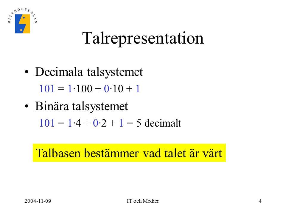 2004-11-09IT och Medier4 Talrepresentation Decimala talsystemet 101 = 1·100 + 0·10 + 1 Binära talsystemet 101 = 1·4 + 0·2 + 1 = 5 decimalt Talbasen be