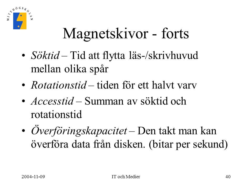 2004-11-09IT och Medier40 Magnetskivor - forts Söktid – Tid att flytta läs-/skrivhuvud mellan olika spår Rotationstid – tiden för ett halvt varv Acces