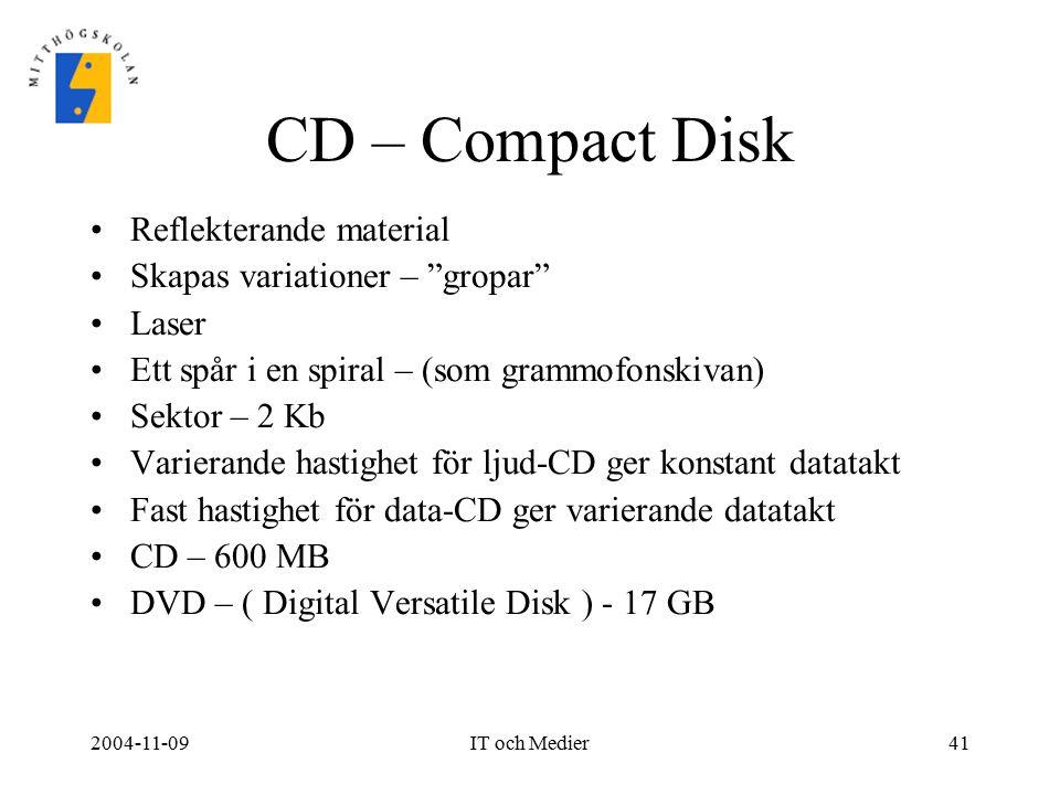 """2004-11-09IT och Medier41 CD – Compact Disk Reflekterande material Skapas variationer – """"gropar"""" Laser Ett spår i en spiral – (som grammofonskivan) Se"""