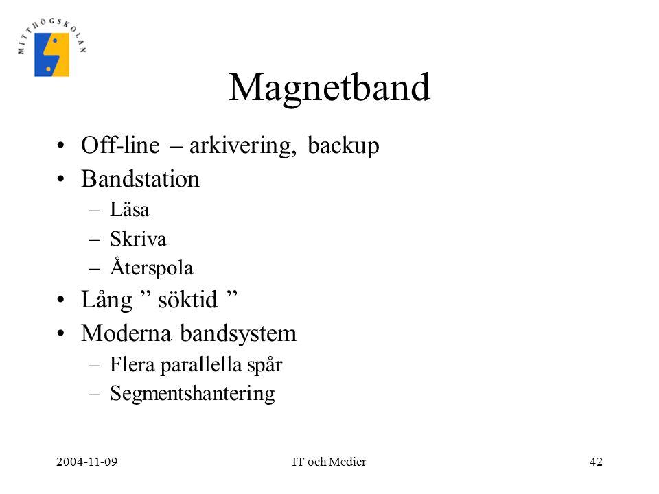 """2004-11-09IT och Medier42 Magnetband Off-line – arkivering, backup Bandstation –Läsa –Skriva –Återspola Lång """" söktid """" Moderna bandsystem –Flera para"""