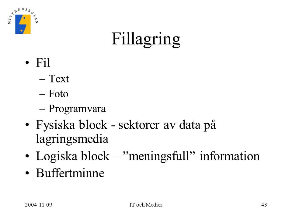 """2004-11-09IT och Medier43 Fillagring Fil –Text –Foto –Programvara Fysiska block - sektorer av data på lagringsmedia Logiska block – """"meningsfull"""" info"""