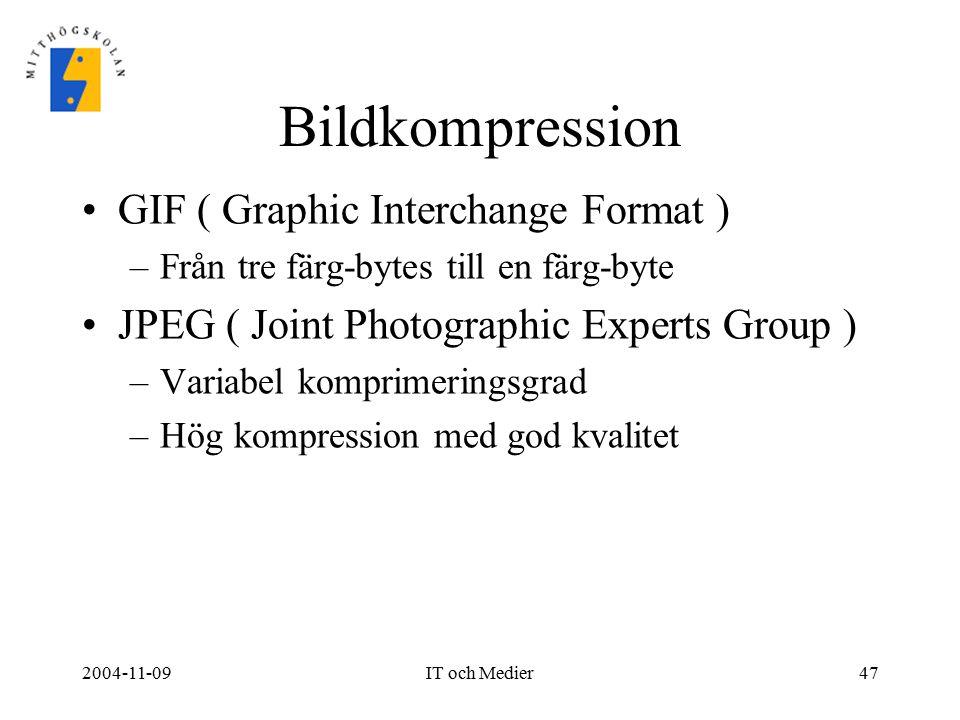 2004-11-09IT och Medier47 Bildkompression GIF ( Graphic Interchange Format ) –Från tre färg-bytes till en färg-byte JPEG ( Joint Photographic Experts