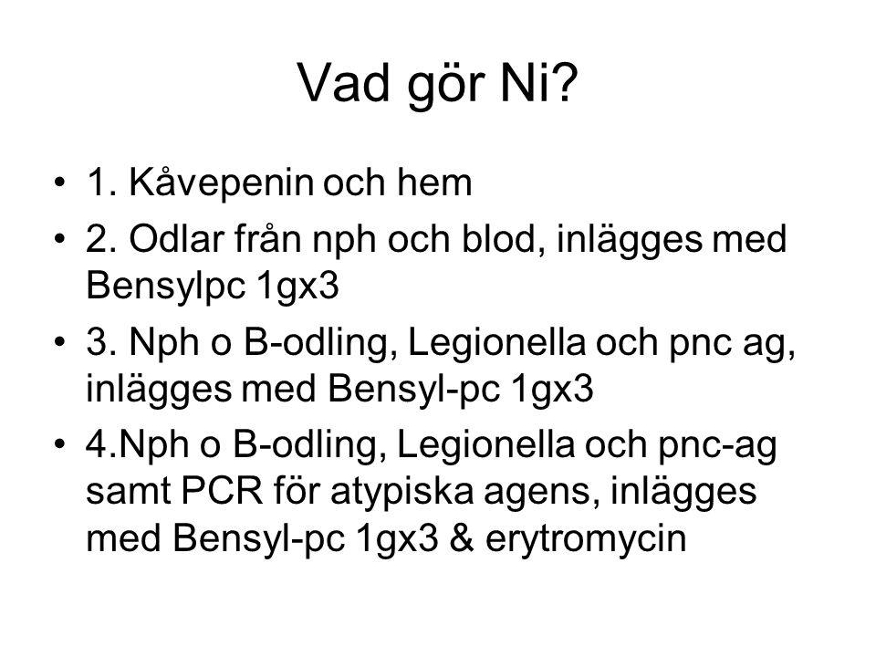 Vad gör Ni.1. Kåvepenin och hem 2. Odlar från nph och blod, inlägges med Bensylpc 1gx3 3.