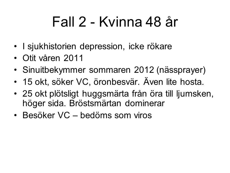 Fall 2 - Kvinna 48 år I sjukhistorien depression, icke rökare Otit våren 2011 Sinuitbekymmer sommaren 2012 (nässprayer) 15 okt, söker VC, öronbesvär.