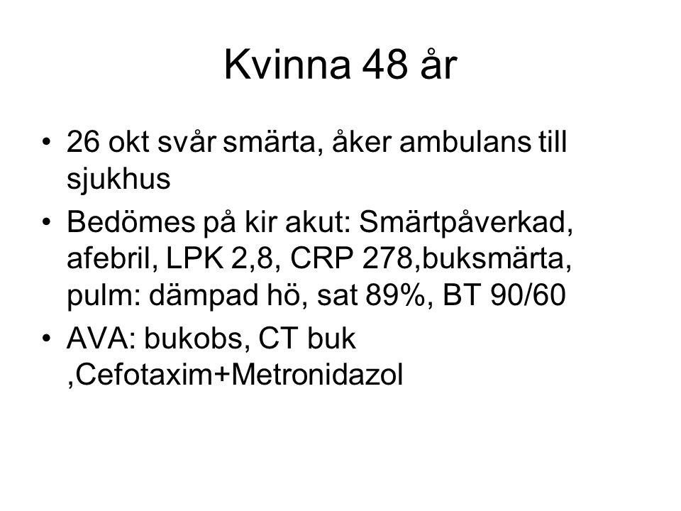 Kvinna 48 år 26 okt svår smärta, åker ambulans till sjukhus Bedömes på kir akut: Smärtpåverkad, afebril, LPK 2,8, CRP 278,buksmärta, pulm: dämpad hö, sat 89%, BT 90/60 AVA: bukobs, CT buk,Cefotaxim+Metronidazol