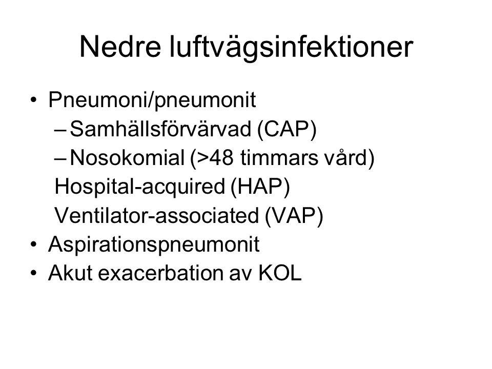 Nedre luftvägsinfektioner Pneumoni/pneumonit –Samhällsförvärvad (CAP) –Nosokomial (>48 timmars vård) Hospital-acquired (HAP) Ventilator-associated (VAP) Aspirationspneumonit Akut exacerbation av KOL