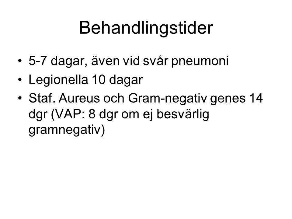 Behandlingstider 5-7 dagar, även vid svår pneumoni Legionella 10 dagar Staf.
