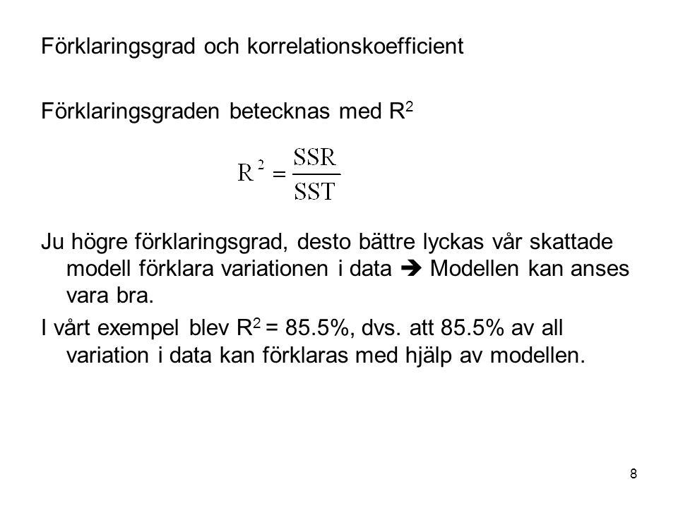 8 Förklaringsgrad och korrelationskoefficient Förklaringsgraden betecknas med R 2 Ju högre förklaringsgrad, desto bättre lyckas vår skattade modell förklara variationen i data  Modellen kan anses vara bra.