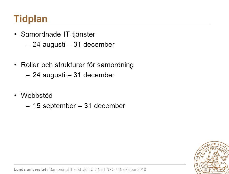 Lunds universitet / Samordnat IT-stöd vid LU / NETINFO / 19 oktober 2010 Samordnade IT-tjänster –24 augusti – 31 december Roller och strukturer för samordning –24 augusti – 31 december Webbstöd –15 september – 31 december Tidplan